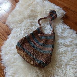 Vintage boho woven bag purse earthy